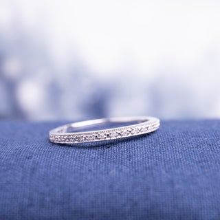 Haylee Jewels 10k White Gold Diamond Accent Semi-eternity Wedding Band