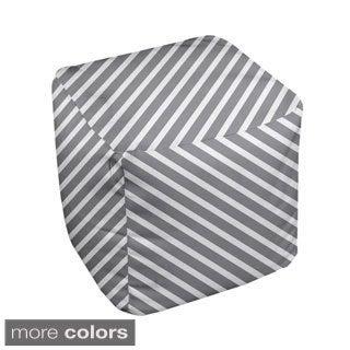 18 x 18-inch Neutral Diagonal Stripe Decorative Pouf