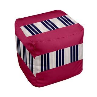 18 x 18-inch Tri-tone Lipstsick Block Stripe Decorative Pouf