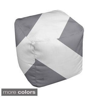 18 x 18-inch Two-tone Neutral T-stripe Decorative Pouf