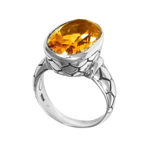 Handcrafted Sterling Silver Bali Faceted Citrine Oval Cobblestone Ring (Indonesia)