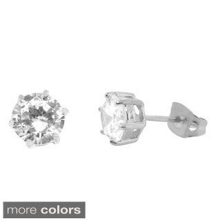 Gioelli Sterling Silver Cubic Zirconia Round Stud Earrings