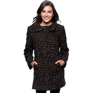 Betsey Johnson Collarless Leopard Print Wool Blend Coat