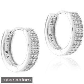 Gioelli Sterling Silver Micro-pave Cubic Zirconia Hoop Earrings