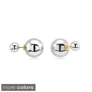 Sterling Silver Double Ball Front-Back Stud Earrings