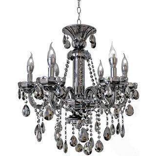 6-light Mirrored Silver Crystal Candelabra Chandelier