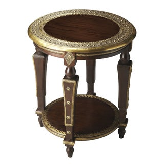 Regal Indian Round Mango Wood Accent Table