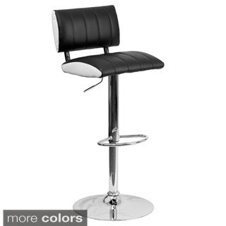 Contemporary Black and White Vinyl Adjustable Bar Stool (Set of 2)