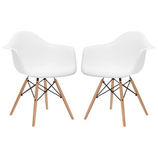 Slope Wood Leg Dining Arm Chair (Set of 2)