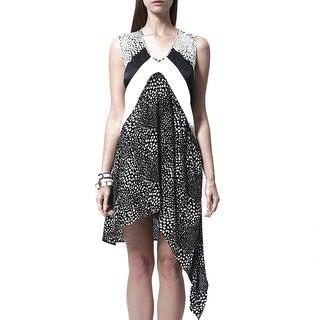 Mossée Women's Leopard Colorblocked Drape-side Dress