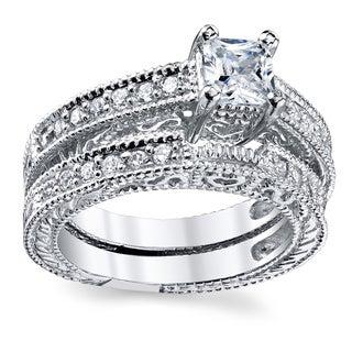 Oliveti Sterling Silver Vintage Princess-cut Cubic Zirconia Bridal Ring Set