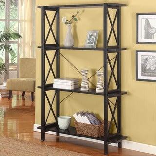 Linon Anna Double Black Wood Bookcase