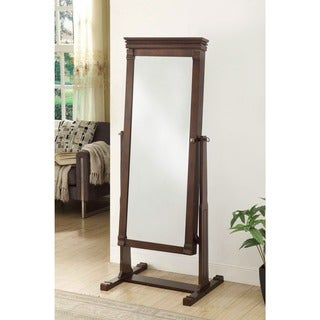 Linon Angela Cheval Mirror - Walnut