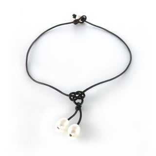 Handmade Knotted Leather Double Freshwater Pearl Drop Necklace (10 mm) (USA)