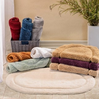 Simple Elegance Superior Collection Luxurious Cotton Non-skid Oval Bath Rug 2-piece Set