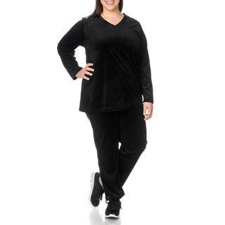 La Cera Women's Plus Size Black 2-piece Warm-up Set