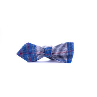 Southern Gents 'Westwood' Blue/ Grey Plaid Diamond Tip Bowtie