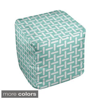 13 x 13-inch Basket Weave Print Decorative Pouf