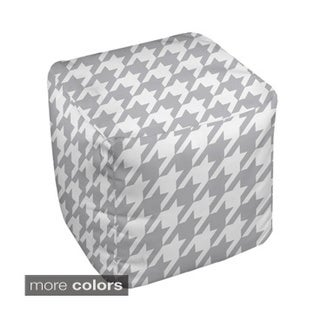 13 x 13-inch Netrual Two-tone Houndstooth Decorative Pouf