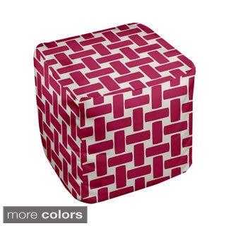 13 x 13-inch Large Basket Weave Print Geometric Decorative Pouf