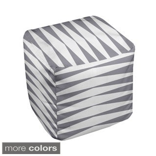 13 x 13-inch Two-tone Stripe Geometric Decorative Pouf