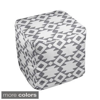 13 x 13-inch Two-tone Tribal Print Geometric Decorative Pouf