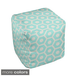 13 x 13-inch Two-tone Honeycomb Print Decorative Pouf