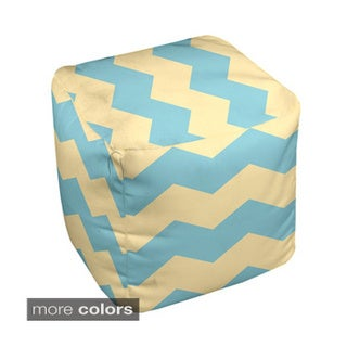 13 x 13-inch Two-tone Chevron Print Decorative Pouf