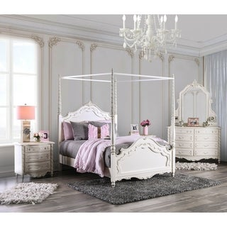 Furniture of America Talia Pearl White 4-Piece Canopy Bed Set
