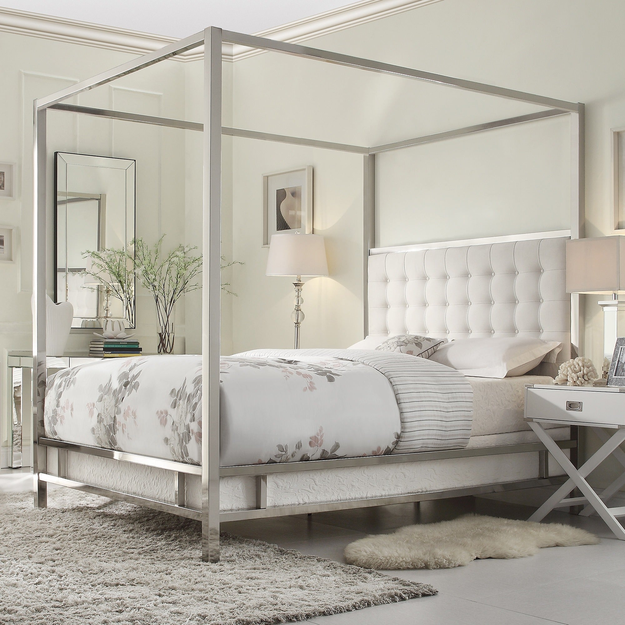 Inspire q solivita canopy button tufted metal poster bed for Bedroom designs with four poster beds