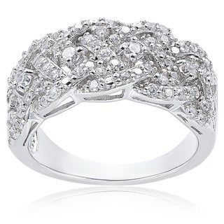 ICZ Stonez Sterling Silver 3/4ct TGW Cubic Zirconia Woven Band Ring