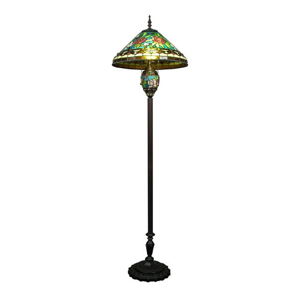 Tiffany style stained glass 3 light floor lamp overstock for Overstock tiffany floor lamp