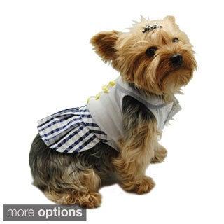 Pet Dog Puppy Plaid Checkered Skirt Dress Clothes Apparel