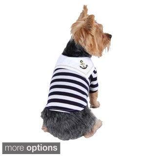 Pet Dog Puppy Clothes Apparel Stylish Sailor Navy Boy Stripe T Shirt Tank Top