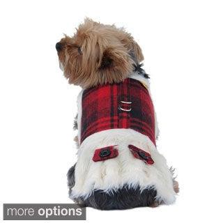 Red/Black Plaid Dog Coat w/ Faux Fur Lining