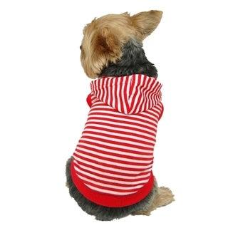 Insten Pet Puppy Dog Soft Poly Cotton Strip Hoodie Jacket Apparel Sweatshirt