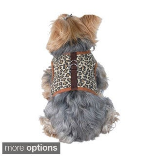 Insten Pet Poly Cotton Harness with Leash Chain Strap Rope Leopard Apparel
