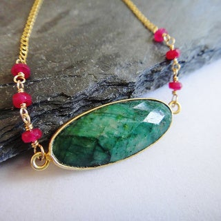 14k Gold Filled Dyed Oval Emerald and Ruby Pendant Necklace