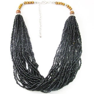 Multi-strand Black Seed Beaded Necklace