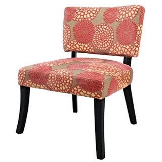 Powell Pink Flower Print Armless Accent Chair