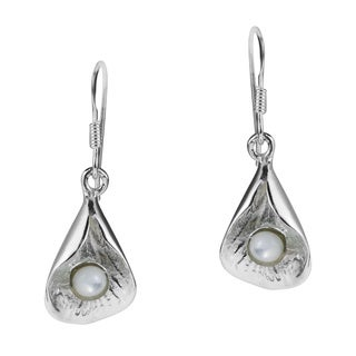 Lotus Bud Mother of Pearl .925 Silver Dangle Earrings (Thailand)