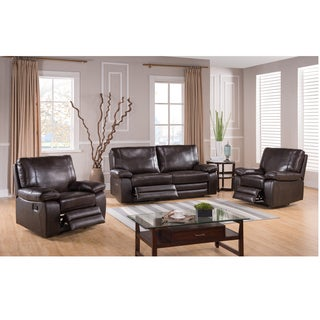 London Dark Brown Top Grain Leather Reclining Sofa and Two Recliner Chairs