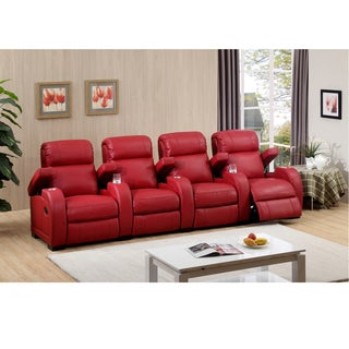 Hugo Four Seat Red Top Grain Leather Recliner Home Theater Seating Set