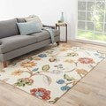 Floral Pattern White/ Multi  Wool/ Art Silk Area Rug (9' x 12')