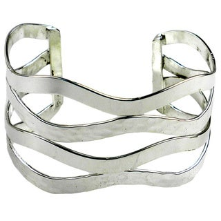 Mixed Media Silver Overlay Cuff Bracelet (Mexico)