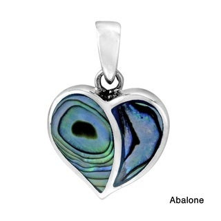 One Love Heart Stone Inlay .925 Sterling Silver Pendant (Thailand)