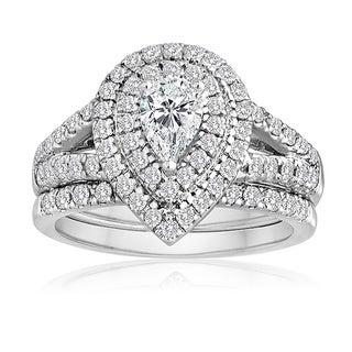 14k White Gold 1 1/2ct TDW Pear-cut Diamond Bridal Ring Set (H-I, I1-I2)