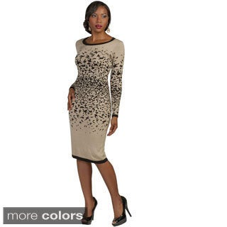 Kayla Collection Women's Two-tone Leopard Sweater Dress