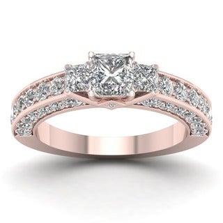 De Couer 14k Rose Gold 2 3/8ct TDW Diamond Princess-cut Three-stone Ring (H-I, I2)