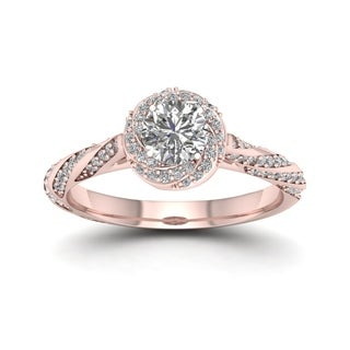 De Couer 14k Rose Gold 1ct TDW Diamond Vintage Swirl Engagement Ring (H-I, I2)